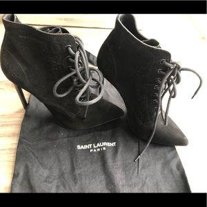 Authentic Saint Laurent Tie Up Ankle Bootie S 38